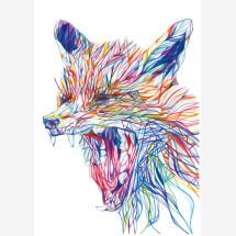 -Yawning Fox signed gesso print-21