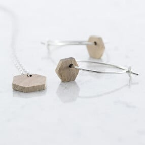 -Hexagon earrings and necklace set walnut-20