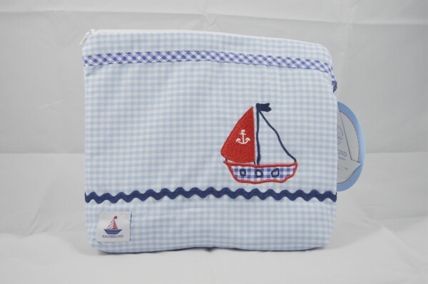 Toiletry bag light blue sailboat | LAND- KINDer