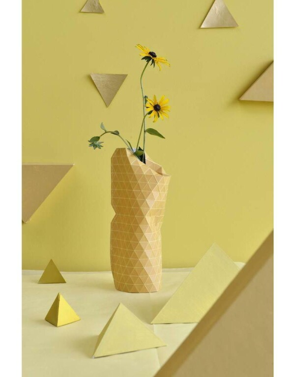 Paper Vase Small Grid Yellow | 1st Tannendiele BlumenGut