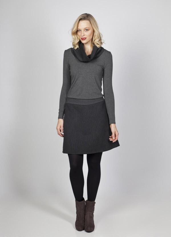 Jersey dress Ava with collar wool viscose   kirsch-grün