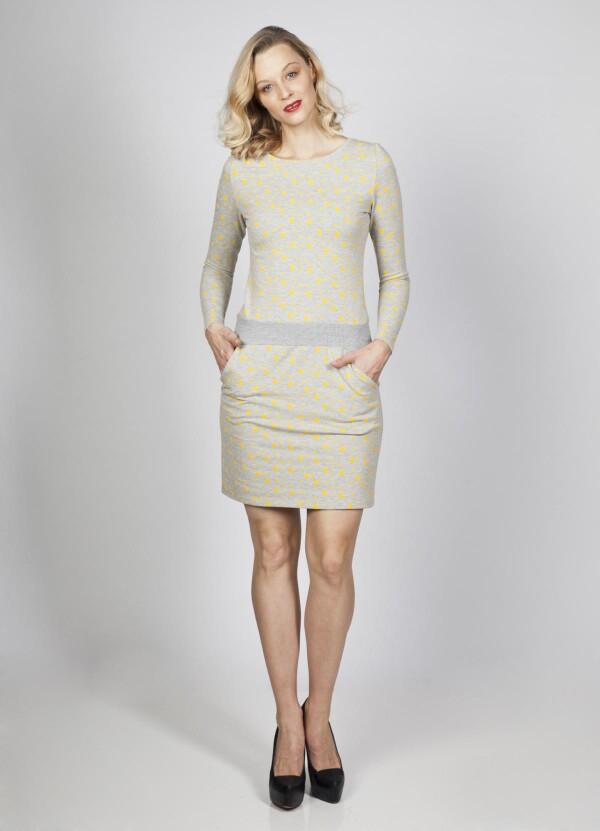 Sweat dress Juna dots mustard gray cotton   kirsch-grün