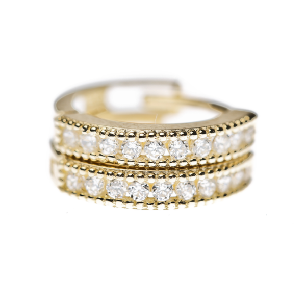 14k cubic zirconia gold huggies | KTcollection