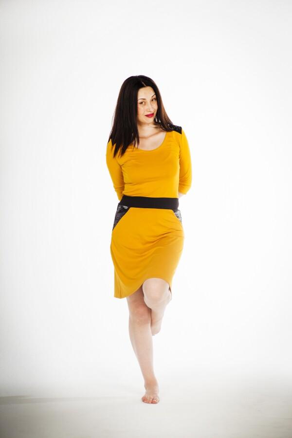 Sequin dress Nala mustard - cherry green | kirsch-grün