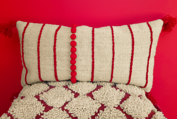 Kilimwolle cushion cover_Large lumbar spine embroidered with felt details | Ariee Home & Gifts