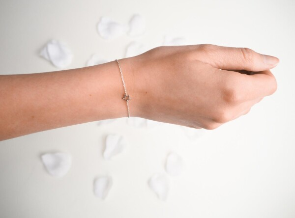 Bracelet with small star sterling silver   Perlenmarkt