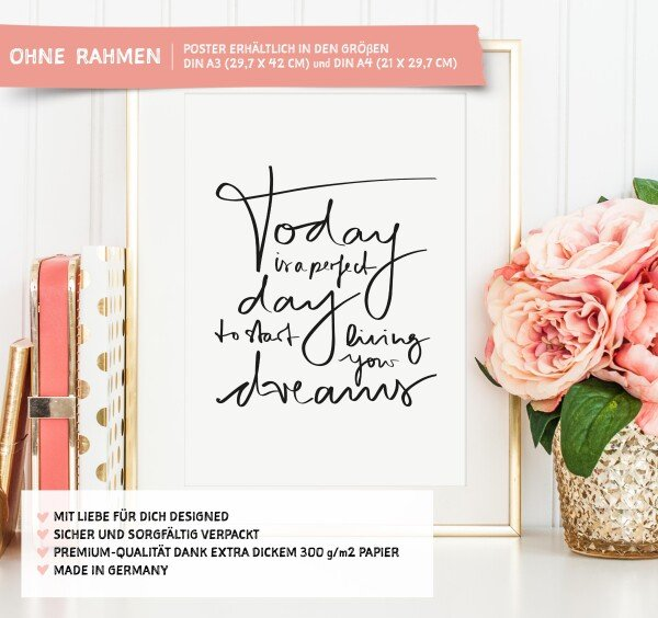 Tales by Jen Art Print: Today is a perfect day to start living your dreams | Tales by Jen