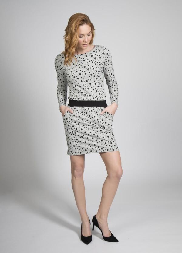 Sweat dress Juna cotton dots black | kirsch-grün
