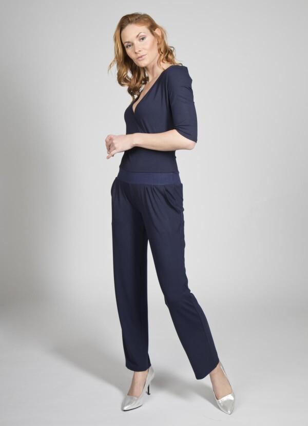Jumpsuit Mina viscose dark blue | kirsch-grün
