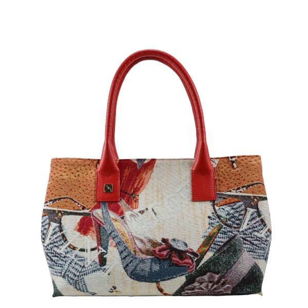 Natalia Jacquard & leather Handbag Red | Tara´s