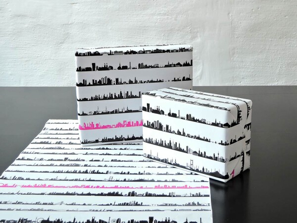 4 sheets 34C wrapping paper 34 skylines around the World A-Z | 44spaces