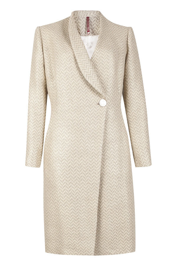 Golden linen coat with one-sided collar | Florentine Kriess