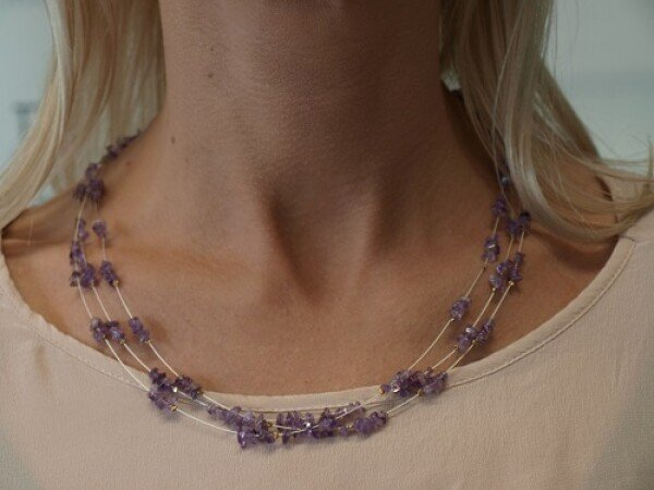 3 rows of delicate chain amethyst | Ela Eis Design