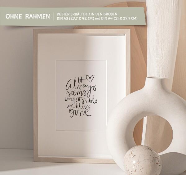 Tales by Jen Art Print: It always seems impossible until it's done | Tales by Jen