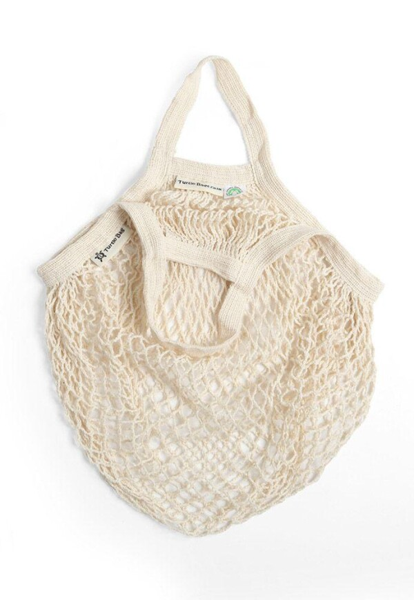 Turtle bag made of GOTS certified organic cotton in white with short crochet   soki Kassel