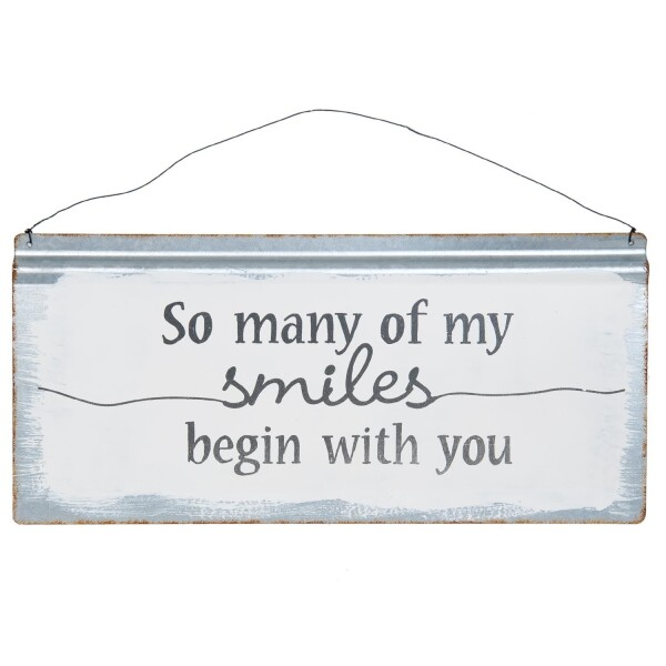 SO MANY OF SMILES BEGIN WITH YOU metal sign 40x30cm   WohnGlanzVilla