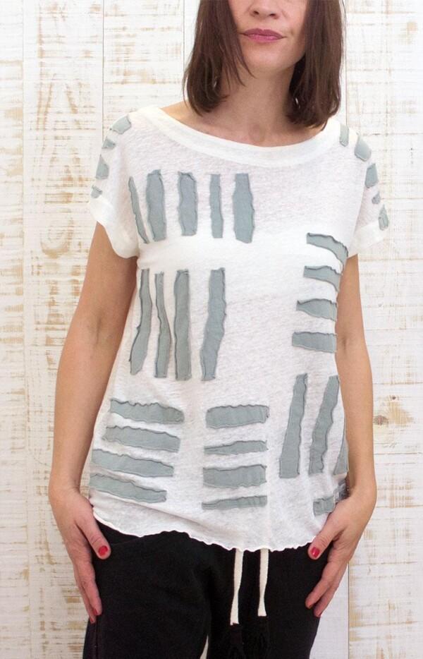Linen blouse with hand made stripes   Isla de Plata