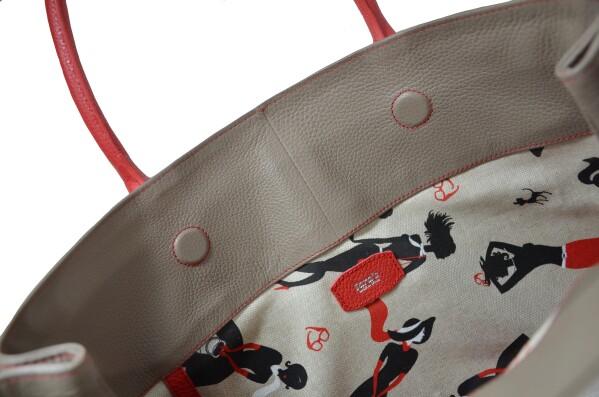 Natalia tote bag taupe & red leather   Tara´s