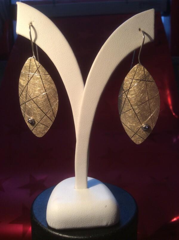 Designer earrings partly gold plated   Atelier Schmuck Tönnissen