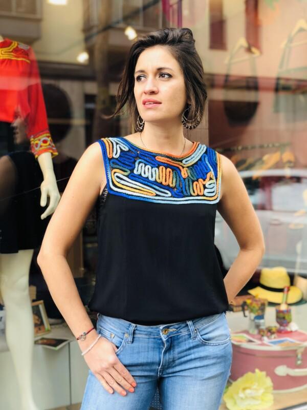 Viscose blouse - Black - Sleeveless | Bizar_Cologne