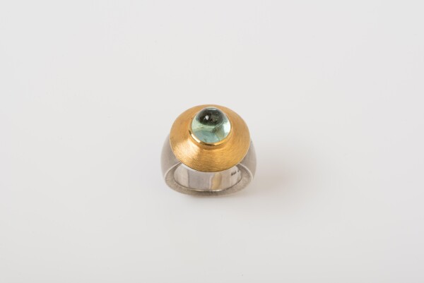 8139 Kegelturmalin ring from 935 sterling silver and 18ct GG with | catya designer second hand