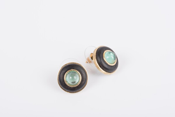 8197 Earrings with ebony and tourmaline | catya fine arts