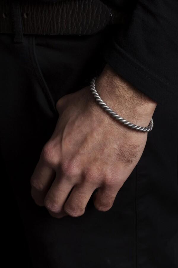 Sterling Silver Rope Bracelet   MadMenJewelry