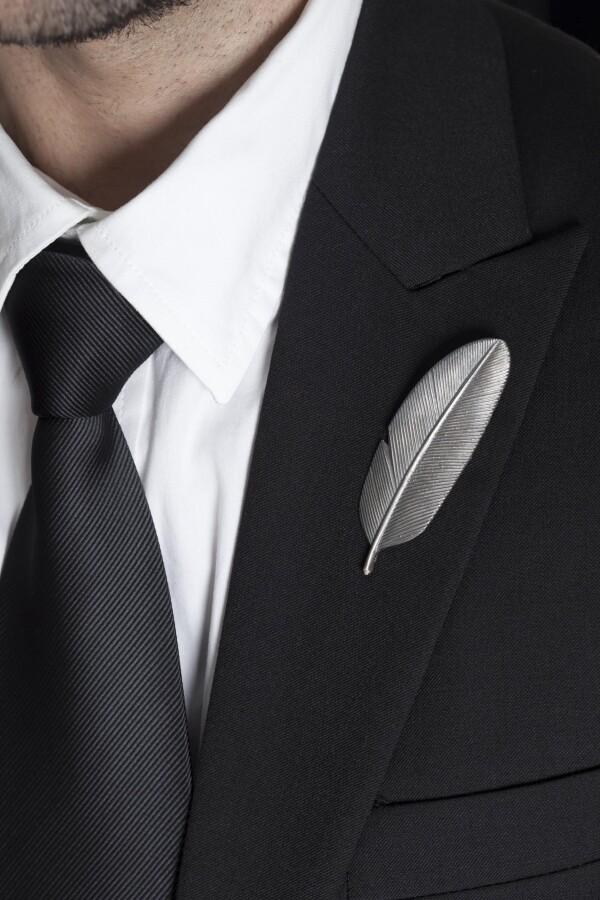 Silver 925 Feather Pin   MadMenJewelry
