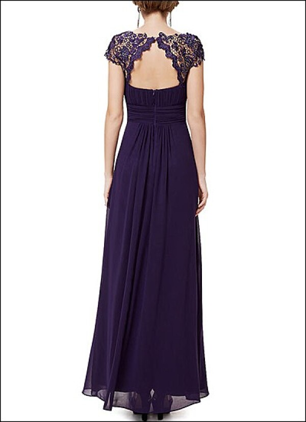 Chiffon evening dress with lace and sleeves | Lafanta | Abend- und Brautmode