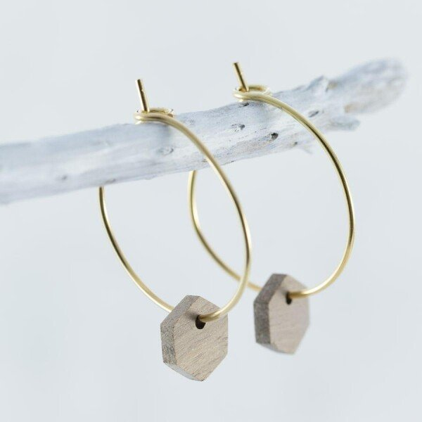 Wood walnut HEXAGON EARRINGS | Debosc