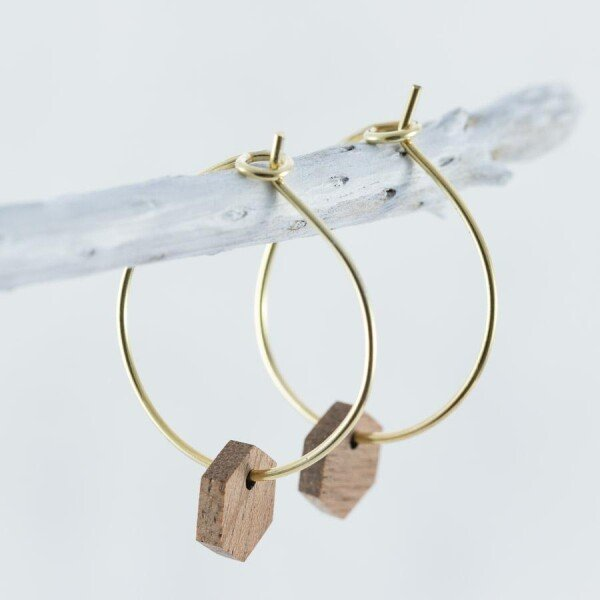 Wooden Sapele HEXAGON EARRINGS | Debosc