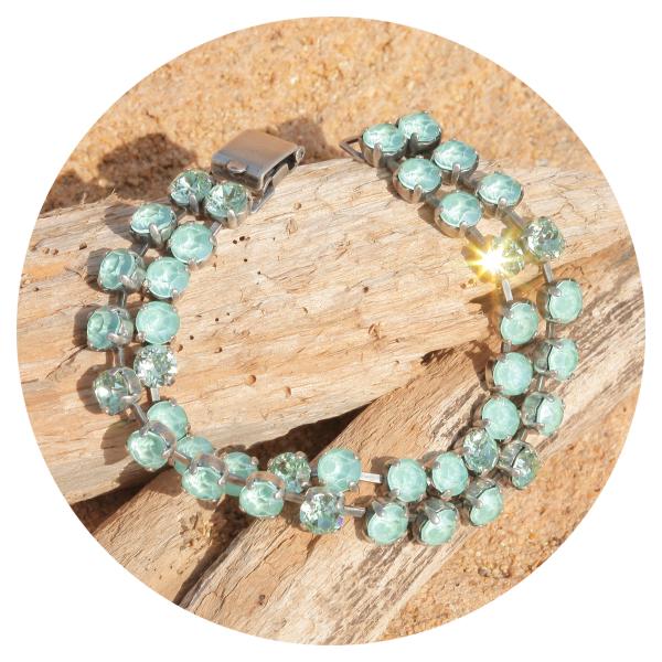 artjany double row bracelet mint green mix | artjany - Kunstjuwelen
