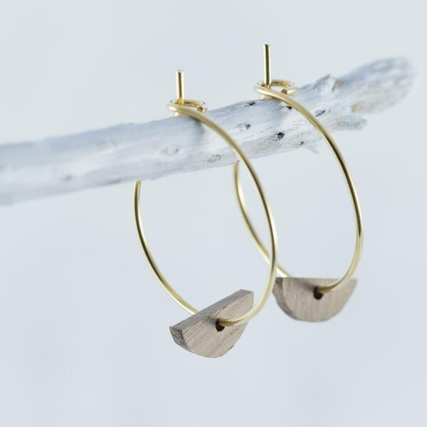 Wooden walnut HALFMOND earrings | Debosc