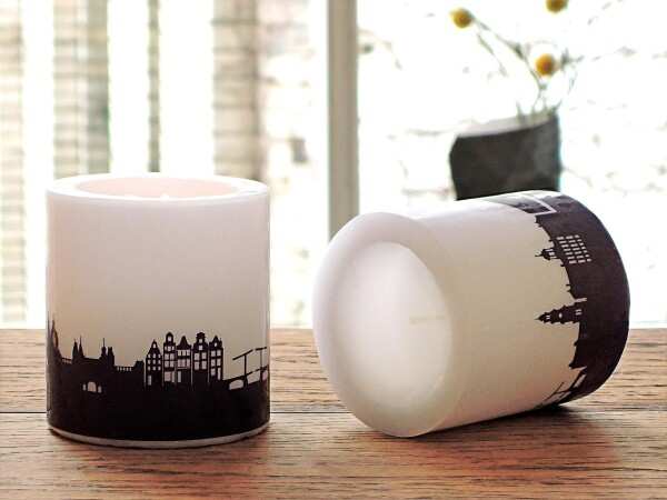 Two AMSTERDAM candles with Skylineprint in plum | 44spaces