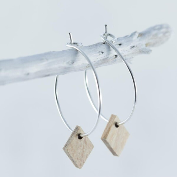 Wooden beech DIAMOND EARRINGS | Debosc