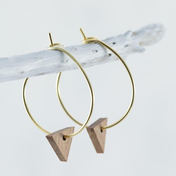 Wooden Sapele TRIANGLE EARRINGS | Debosc