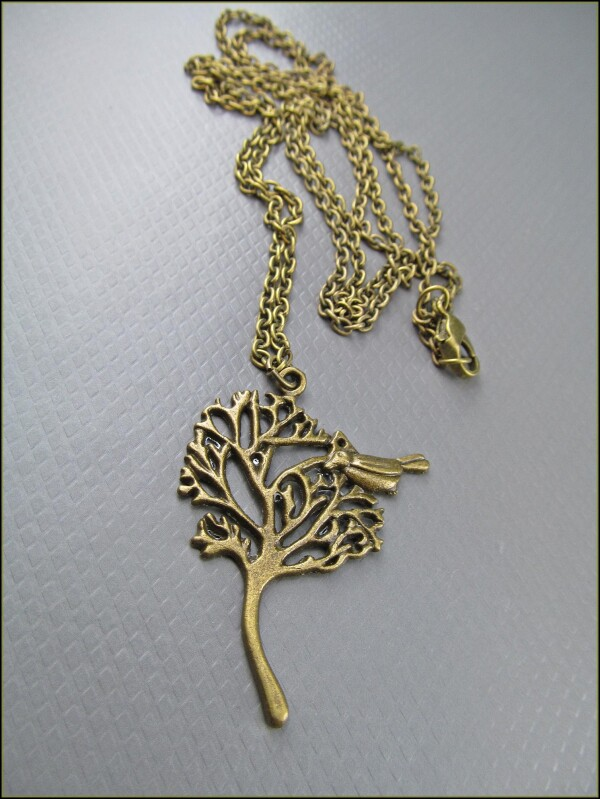 Pretty brass chain with a tree pendant with bird | Carol and Me