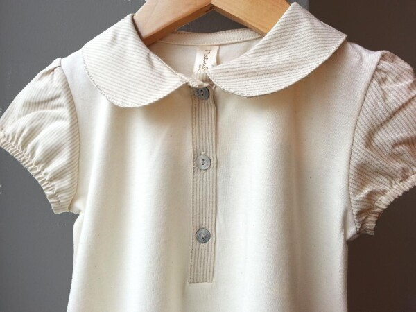 Naturapura baby christening gown with collar made of 100% organic cotton ecru | YOUNAHLEE fabrics & accesoires
