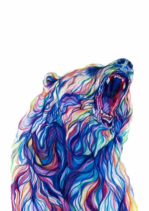 Bear - signed gesso print | Jam Art Factory