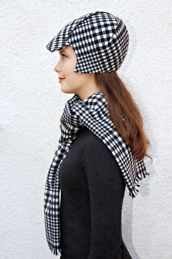 checkered fringed scarf SOLO_215 | MOLOTOW