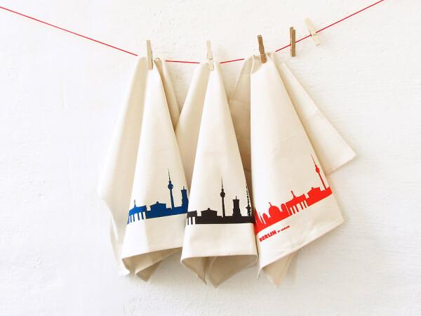 Fair trade tea towel with BERLIN skyline   44spaces