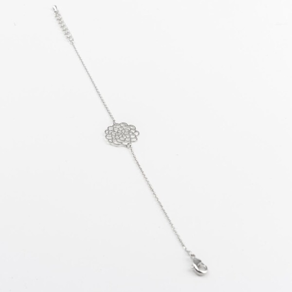 Bracelet with flower motive silver plated   Perlenmarkt