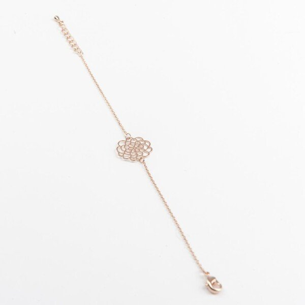 Bracelet with flowers motif rose gold plated | Perlenmarkt