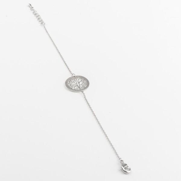 Bracelet with tree motif silvered   Perlenmarkt
