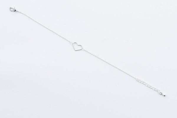 Bracelet with heart motif silvered   Perlenmarkt