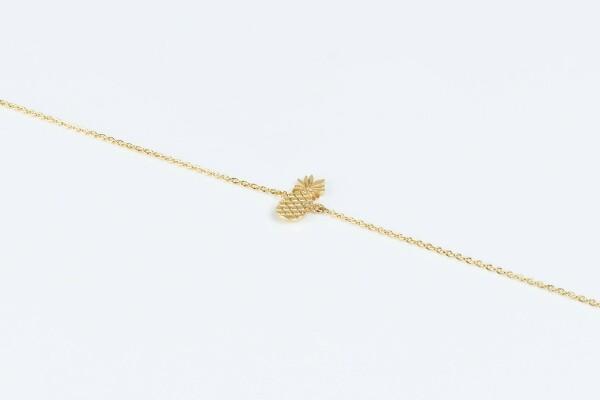 Bracelet with pineapple motif gold plated   Perlenmarkt