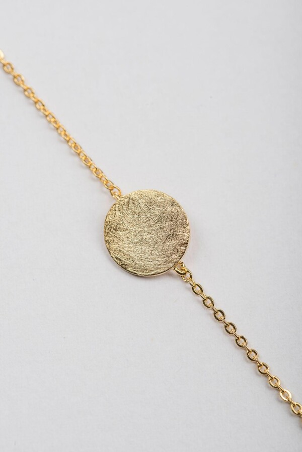 Bracelet with discs flat frosted motif gold plated   Perlenmarkt