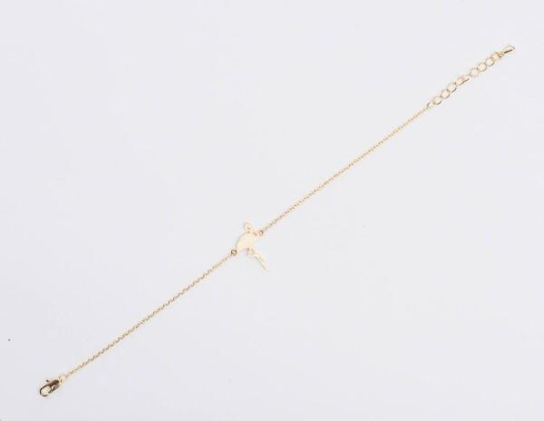 Gold plated bracelet with flamingo motif | Perlenmarkt