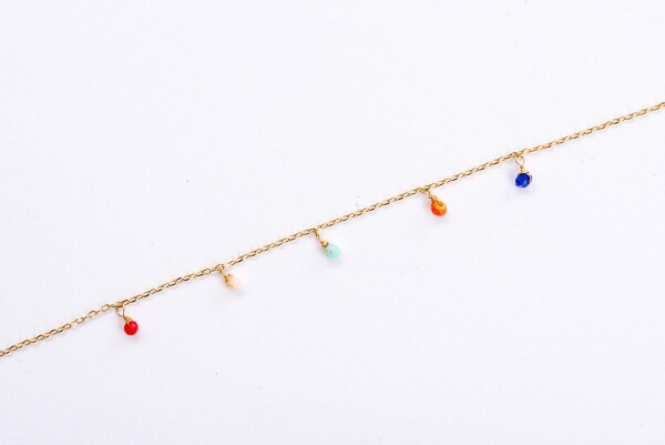 Bracelet with colorful crystal pendants gilded | Perlenmarkt