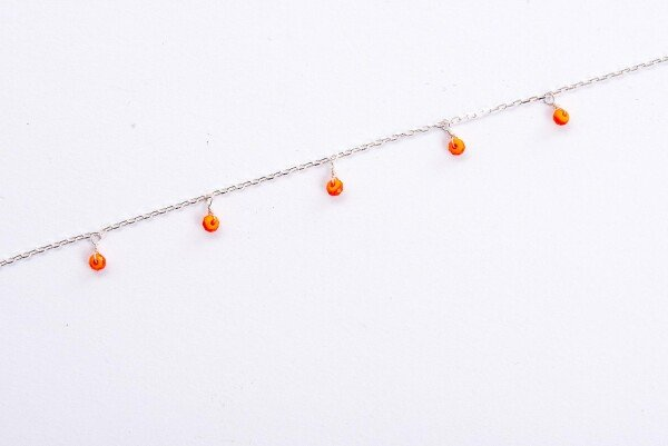 Bracelet with orange crystal pendants silver plated | Perlenmarkt